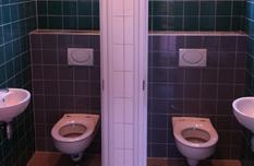 Toiletten groen en grijs tegelwerk